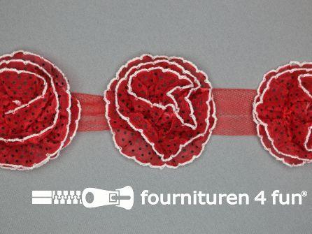 Bloemenkant 75mm stippen rood