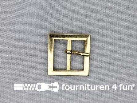 Metalen gesp 20mm vierkant goud