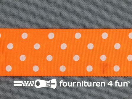 Bolletjes lint 24mm neon oranje