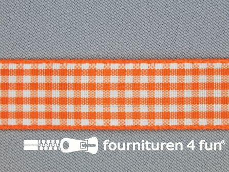 Ruitjes lint 15mm oranje