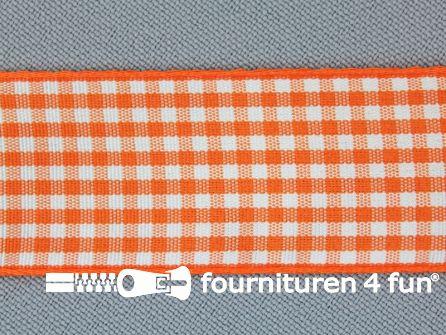 Ruitjes lint 24mm oranje