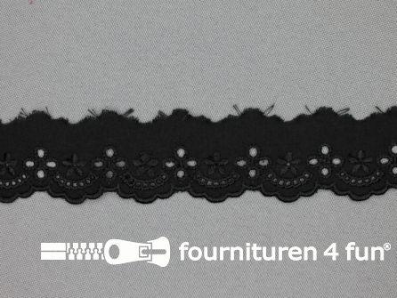 Broderie kant 30mm zwart