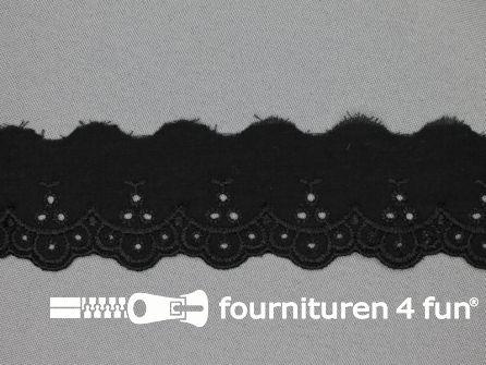 Broderie kant 40mm zwart