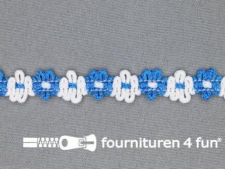 Kaart 50 meter bloemenkant 12mm wit - aqua blauw