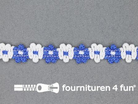 Bloemenkant 12mm wit - kobalt blauw