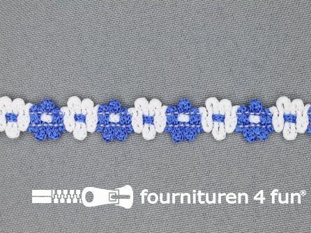 Kaart 50 meter bloemenkant 12mm wit - kobalt blauw
