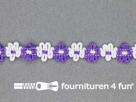 Kaart 50 meter bloemenkant 12mm wit - paars