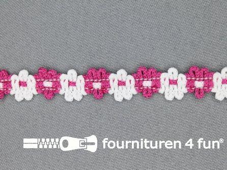 Kaart circa 45 meter bloemenkant 12mm wit - fuchsia roze