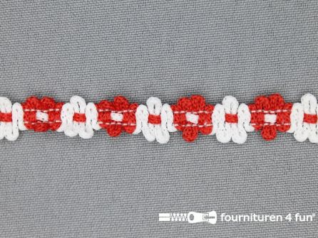 Bloemenkant 12mm wit - rood