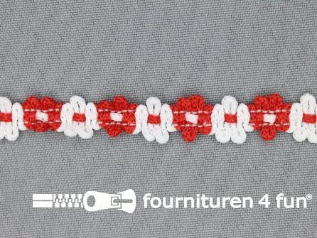 Kaart 50 meter bloemenkant 12mm wit - rood