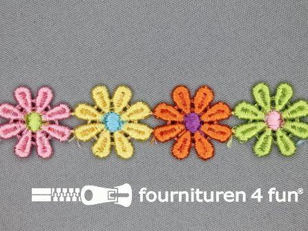COUPON 1,9 meter Bloemenkant 27mm multicolor