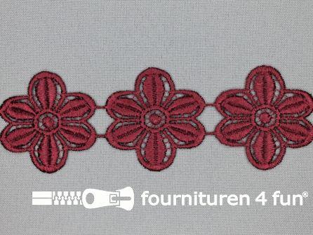Bloemenkant 48mm bordeaux rood