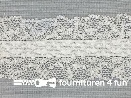 Elastisch kant 58mm kousenband wit