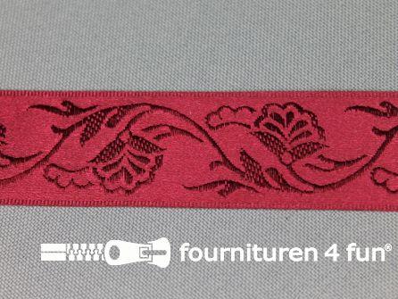 Floral lint 25mm bordeaux rood