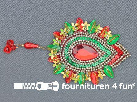 Broche 105mm rood - geel - groen - rode steen