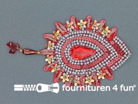 Broche 105mm bordeaux rood