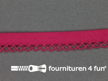 Deco biasband uni 12mm fuchsia roze