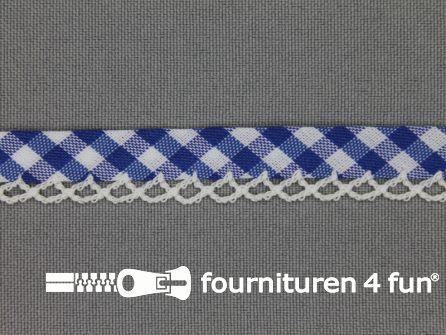Deco biasband print 12mm ruitjes kobalt blauw
