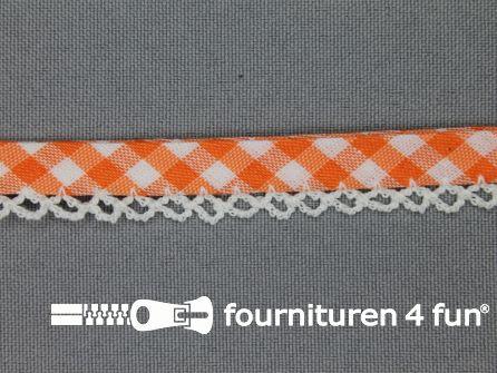 Deco biasband print 12mm ruitjes oranje