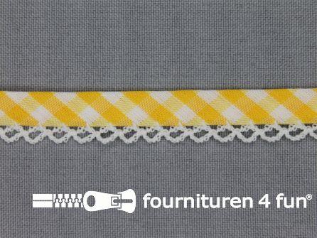 Deco biasband print 12mm ruitjes geel
