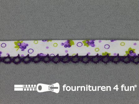 Deco biasband print 12mm fruit paars - wit
