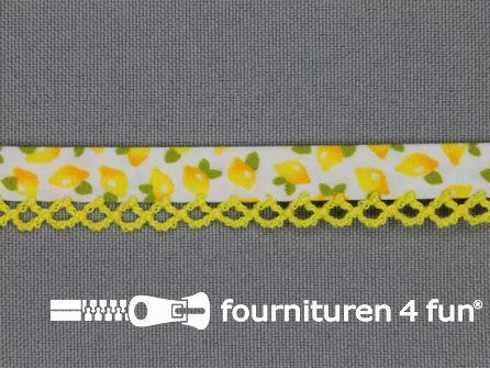 Deco biasband print 12mm fruit geel - wit