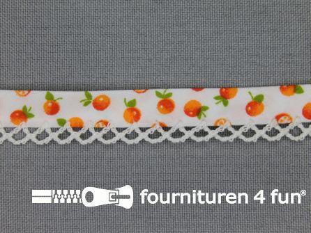 Deco biasband print 12mm fruit wit - oranje