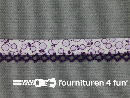 Deco biasband print 12mm kersen paars - wit