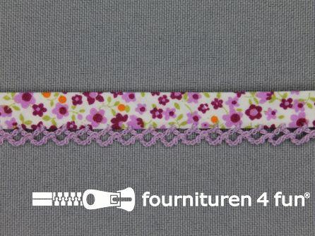 Deco biasband print 12mm bloemen lila