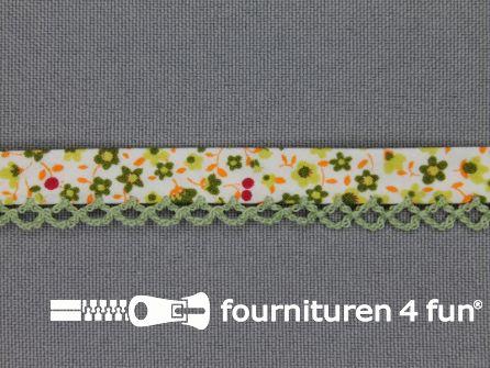 Deco biasband print 12mm bloemen pistache groen