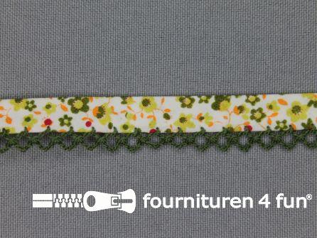 Deco biasband print 12mm bloemen donker groen