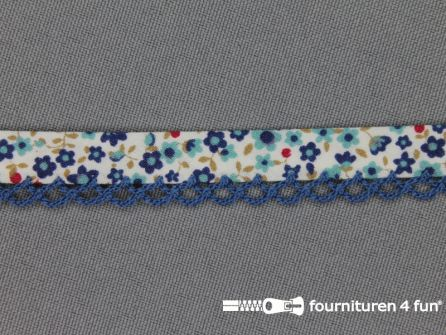 Deco biasband print 12mm bloemen kobalt blauw