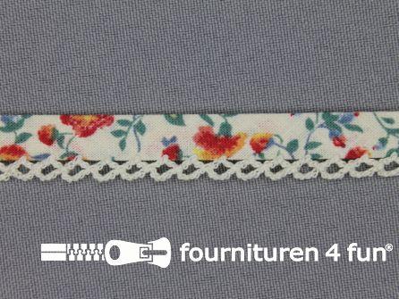 Deco biasband print 12mm bloemen ecru
