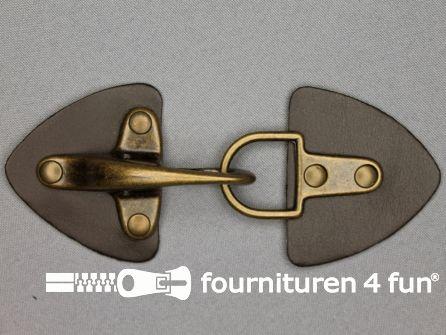 Siersluiting leer 55mm bruin - brons