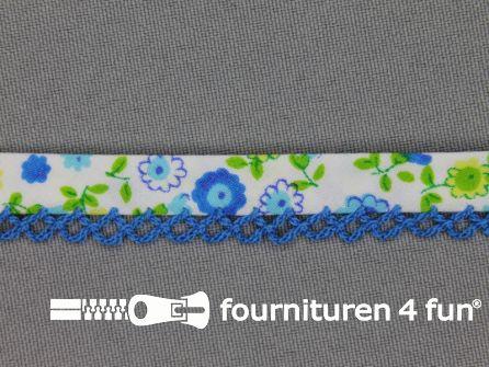 Deco biasband print 12mm bloemen helder blauw