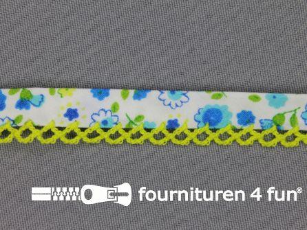 Deco biasband print 12mm bloemen neon groen