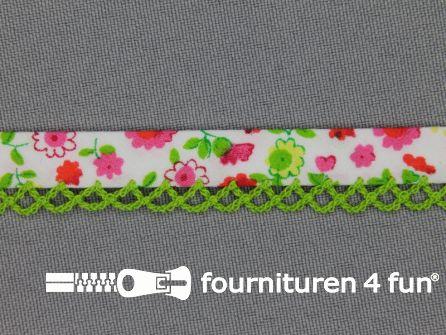 Deco biasband print 12mm bloemen lime groen