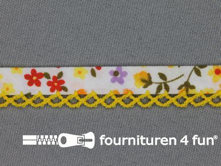 Deco biasband print 12mm bloemen geel