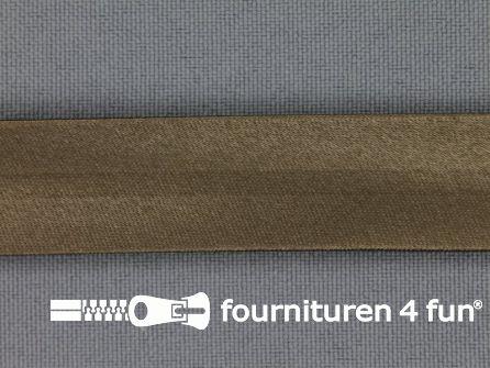 Rol 25 meter satijnen biasband 18mm lever bruin
