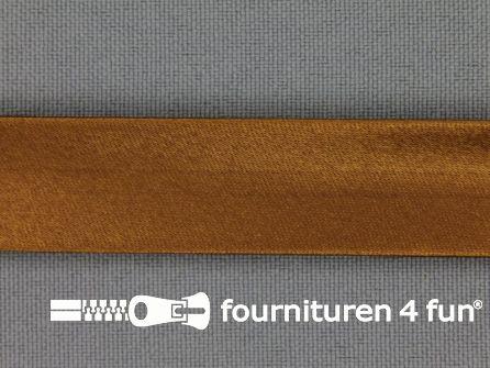 Rol 25 meter satijnen biasband 18mm kaneel bruin