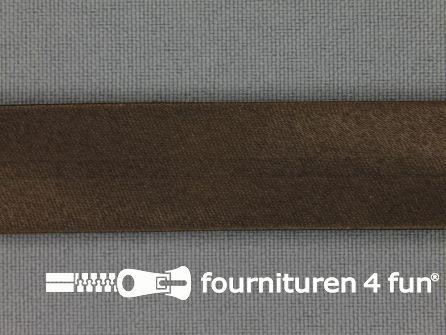 Satijnen biasband 18mm cacao bruin