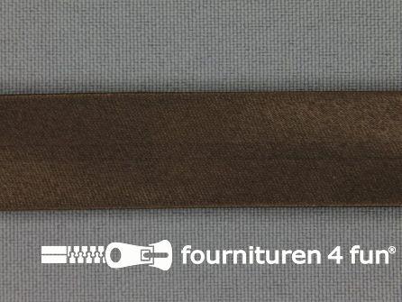 Rol 25 meter satijnen biasband 18mm cacao bruin