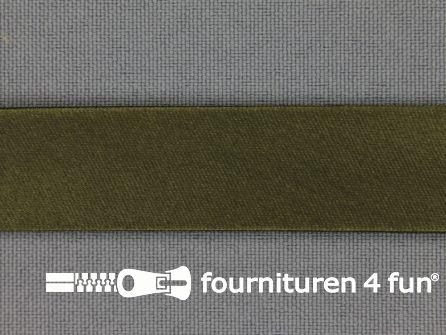 Satijnen biasband 18mm leger groen