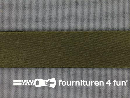 Rol 25 meter satijnen biasband 18mm leger groen