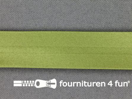 Rol 25 meter satijnen biasband 18mm safari groen