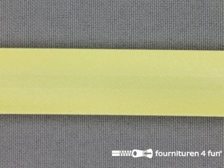 Rol 25 meter satijnen biasband 18mm licht geel
