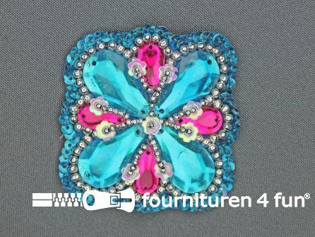 Broche 50mm blauw - roze