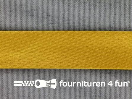 Rol 25 meter satijnen biasband 18mm oker geel