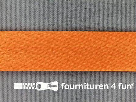 Rol 25 meter satijnen biasband 18mm oranje