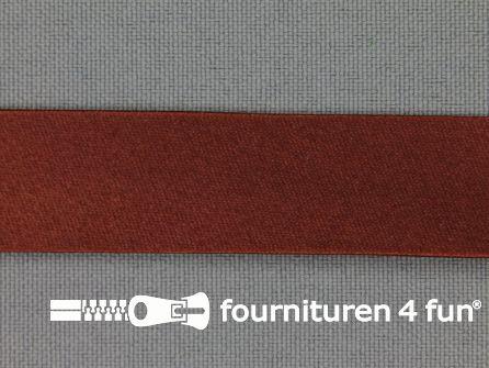 Rol 25 meter satijnen biasband 18mm brons bruin